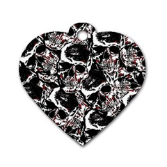 Skull Pattern Dog Tag Heart (two Sides)