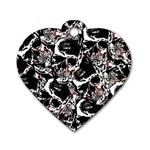 Skull pattern Dog Tag Heart (Two Sides) Front