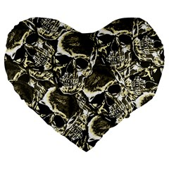 Skull pattern Large 19  Premium Heart Shape Cushions
