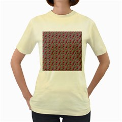 Floral Pattern Women s Yellow T Shirt