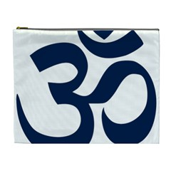 Hindu Om Symbol (Dark Blue) Cosmetic Bag (XL)