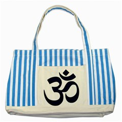 Hindu Om Symbol (Dark Blue) Striped Blue Tote Bag
