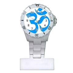 Hindu Om Symbol (Ocean Blue) Plastic Nurses Watch