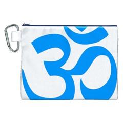 Hindu Om Symbol (Ocean Blue) Canvas Cosmetic Bag (XXL)