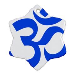 Hindu Om Symbol (blue) Ornament (snowflake)