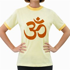 Hindu Om Symbol (Chocolate Brown) Women s Fitted Ringer T-Shirts