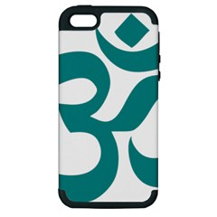 Hindu Om Symbol (Dark Cyan) Apple iPhone 5 Hardshell Case (PC+Silicone)