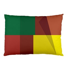 Albers Out Plaid Green Pink Yellow Red Line Pillow Case