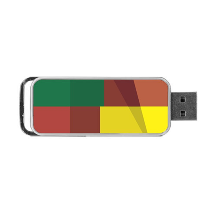 Albers Out Plaid Green Pink Yellow Red Line Portable USB Flash (One Side)
