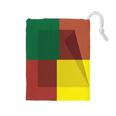 Albers Out Plaid Green Pink Yellow Red Line Drawstring Pouches (large)