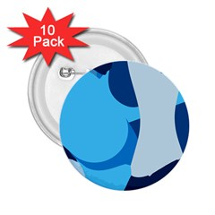 Blue Polka 2 25  Buttons (10 Pack)