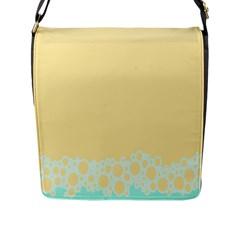 Bubbles Yellow Blue White Polka Flap Messenger Bag (l)