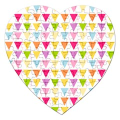 Bunting Triangle Color Rainbow Jigsaw Puzzle (Heart)