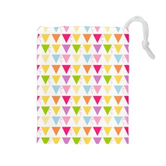 Bunting Triangle Color Rainbow Drawstring Pouches (Large)