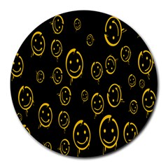 Face Smile Bored Mask Yellow Black Round Mousepads