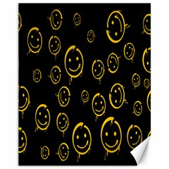 Face Smile Bored Mask Yellow Black Canvas 11  x 14