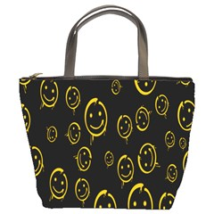 Face Smile Bored Mask Yellow Black Bucket Bags