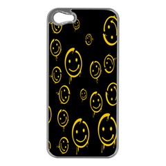 Face Smile Bored Mask Yellow Black Apple iPhone 5 Case (Silver)