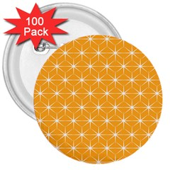 Yellow Stars Iso Line White 3  Buttons (100 pack)