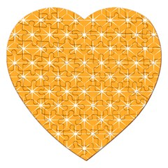 Yellow Stars Iso Line White Jigsaw Puzzle (Heart)