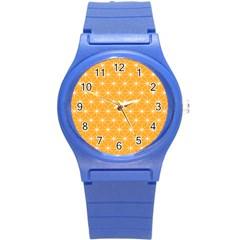 Yellow Stars Iso Line White Round Plastic Sport Watch (S)