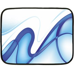 Glittering Abstract Lines Blue Wave Chefron Double Sided Fleece Blanket (Mini)