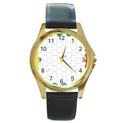 Hex Grid Plaid Green Yellow Blue Orange White Round Gold Metal Watch
