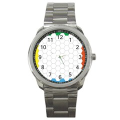 Hex Grid Plaid Green Yellow Blue Orange White Sport Metal Watch