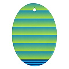 Line Horizontal Green Blue Yellow Light Wave Chevron Oval Ornament (Two Sides)