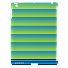 Line Horizontal Green Blue Yellow Light Wave Chevron Apple iPad 3/4 Hardshell Case (Compatible with Smart Cover)