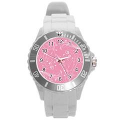 Floral Design Round Plastic Sport Watch (l)