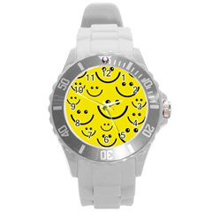 Linus Smileys Face Cute Yellow Round Plastic Sport Watch (L)