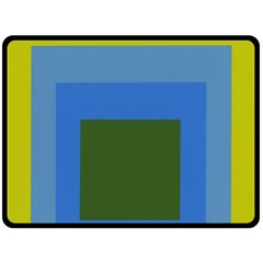 Plaid Green Blue Yellow Double Sided Fleece Blanket (large)