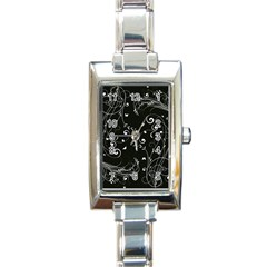 Floral Design Rectangle Italian Charm Watch