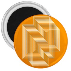 Orange Line Plaid 3  Magnets