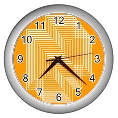 Orange Line Plaid Wall Clocks (Silver)