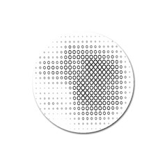 Polka Circle Round Black White Hole Magnet 3  (Round)