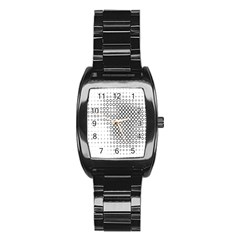 Polka Circle Round Black White Hole Stainless Steel Barrel Watch