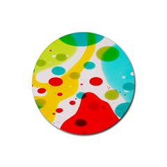 Polkadot Color Rainbow Red Blue Yellow Green Rubber Round Coaster (4 pack)
