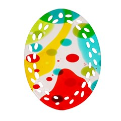 Polkadot Color Rainbow Red Blue Yellow Green Oval Filigree Ornament (Two Sides)