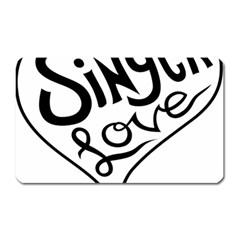 Singer Love Sign Heart Magnet (Rectangular)