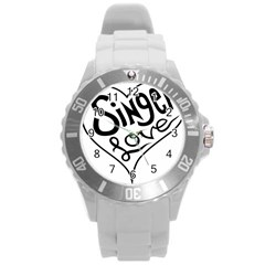 Singer Love Sign Heart Round Plastic Sport Watch (l)
