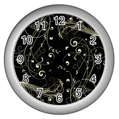 Floral Design Wall Clocks (silver)