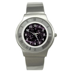 Floral Design Stainless Steel Watch