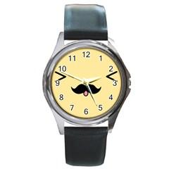 Mustache Round Metal Watch