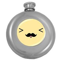 Mustache Round Hip Flask (5 Oz)