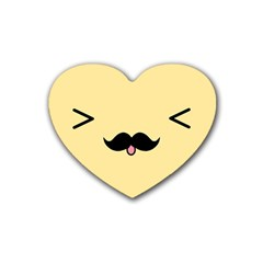 Mustache Rubber Coaster (heart)
