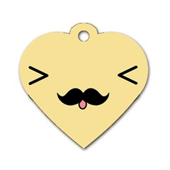 Mustache Dog Tag Heart (One Side)