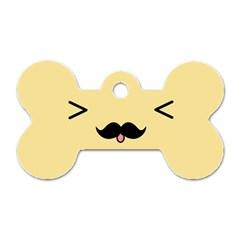 Mustache Dog Tag Bone (one Side)