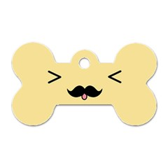 Mustache Dog Tag Bone (two Sides)